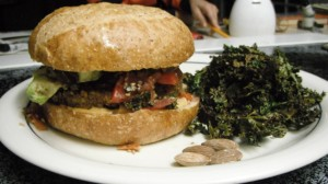 Nut & Bean Veggie burger with tomato, avocado & medicinal KimChi & Crispy Kale Chips.